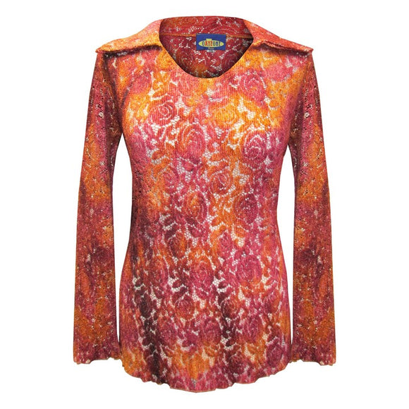 Dead Threads - Women's Red Long Sleeve Notch Collar Top with Tie Dyed Floral Design