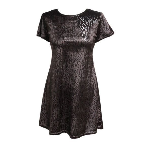 Dead Threads - Women's Brown Half Sleeve Scoop Neck Velour Mini Dress