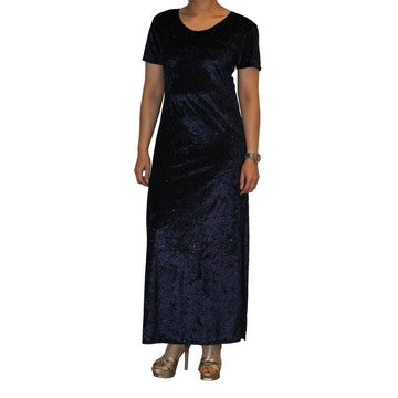 Dead Threads - Women's Blue Ankle Length Half Sleeve Velour Dress