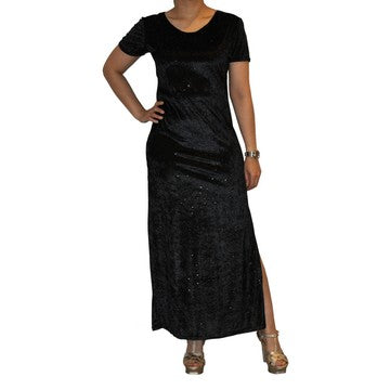 Dead Threads - Women's Black Ankle Length Half Sleeve Velour Dress