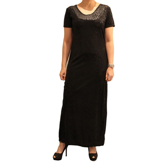 Dead Threads - Women's Black Half Sleeves Scoop Neck Velour Ankle Length Dress