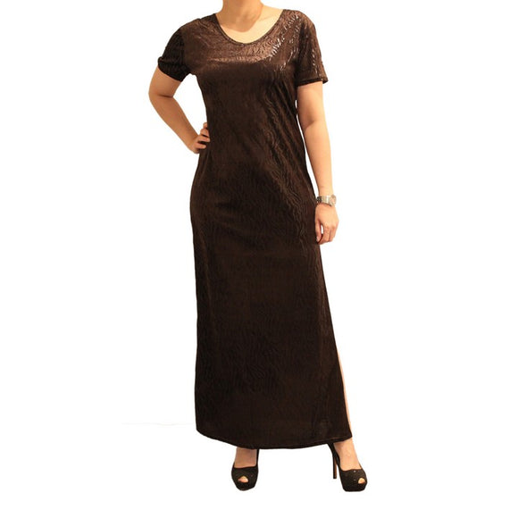 Dead Threads - Women's Brown Half Sleeves Scoop Neck Velour Ankle Length Dress