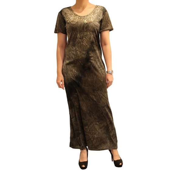 Dead Threads - Women's Khaki Half Sleeves Scoop Neck Velour Ankle Length Dress