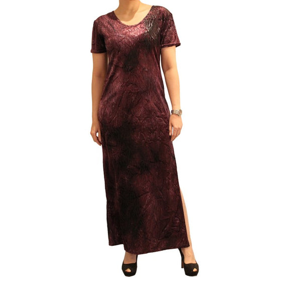 Dead Threads - Women's Purple Half Sleeves Scoop Neck Velour Ankle Length Dress