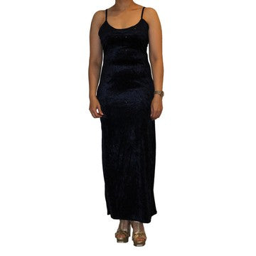 Dead Threads - Women's Ankle Length Blue Velour Strap Dress