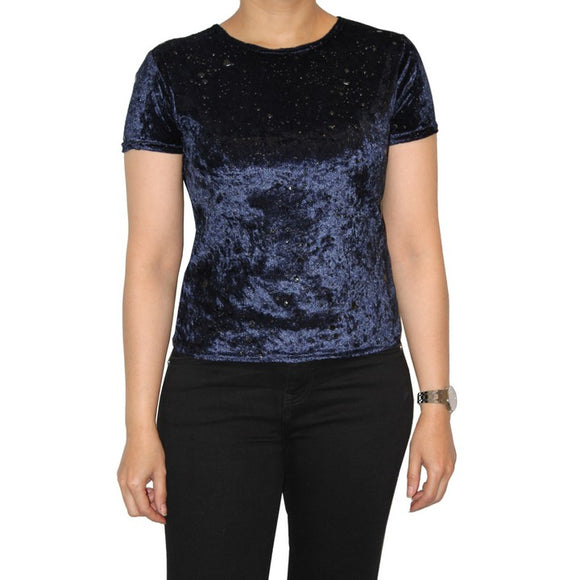 Dead Threads - Women's Blue Scoop Neck Velour Half Sleeve Top