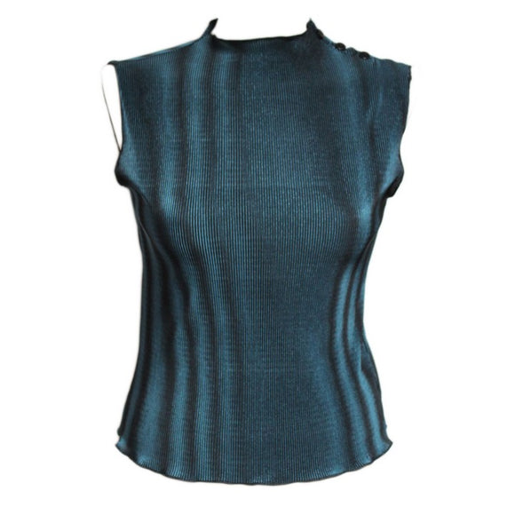Dead Threads - Women's Blue Sleeveless Top with Three Buttons on the Shoulder