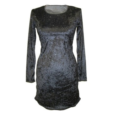 Dead Threads - Women's Black Knee Length Long Sleeve Velour Dress
