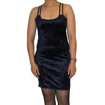 Dead Threads - Women's Blue Double Shoulder Strap Velour Dress