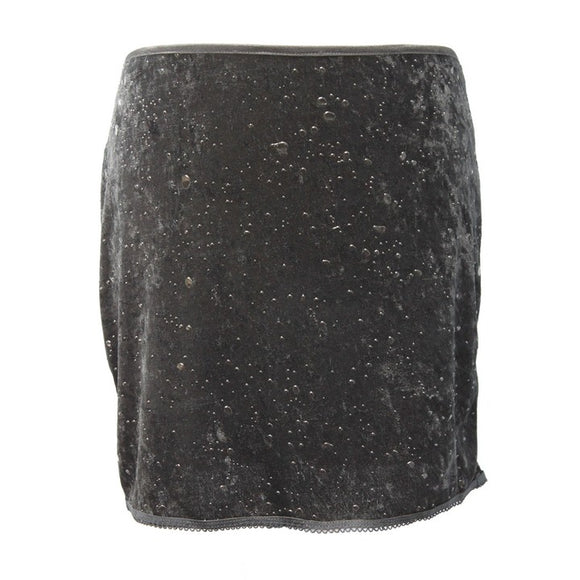Dead Threads - Women's Black Velour Mini Skirt with Black Foil Print