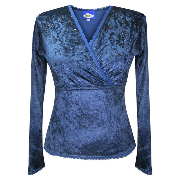 Dead Threads - Women's Blue Cross Over V-neck Velour Long Sleeve Top