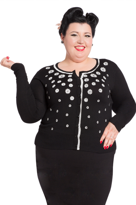 Voodoo Vixen - Leticia Falling Flowers Black Plus Size Cardigan - Egg n Chips London
