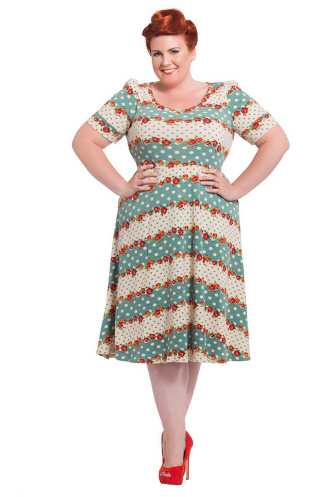 Voodoo Vixen - Polka Dot Floral Knit Plus Size Dress