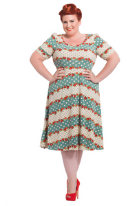 Voodoo Vixen - Polka Dot Floral Knit Plus Size Dress - Egg n Chips London