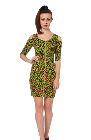 Voodoo Vixen - Green Leopard Print Bodycon Dress
