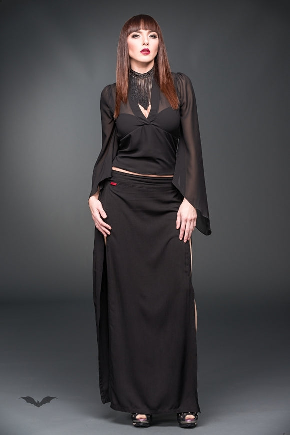 Queen of Darkness - See-through blouse with bell-shaped slee