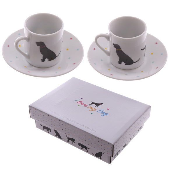Egg n Chips London - Set of 2 Espresso Cup and Saucer - I Love My Dog - Egg n Chips London