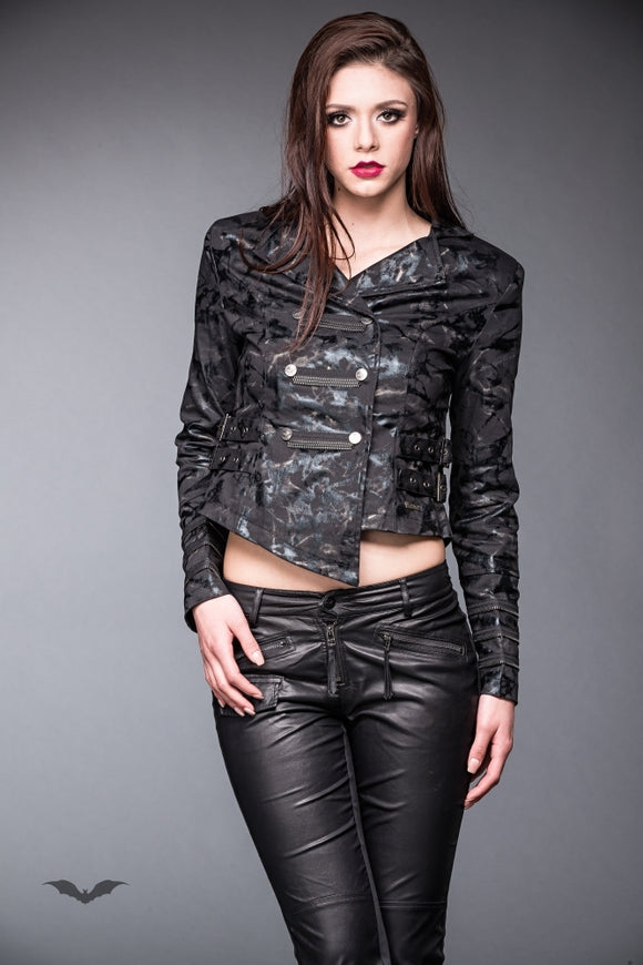 Queen of Darkness - Shiny military look jacket with buckles