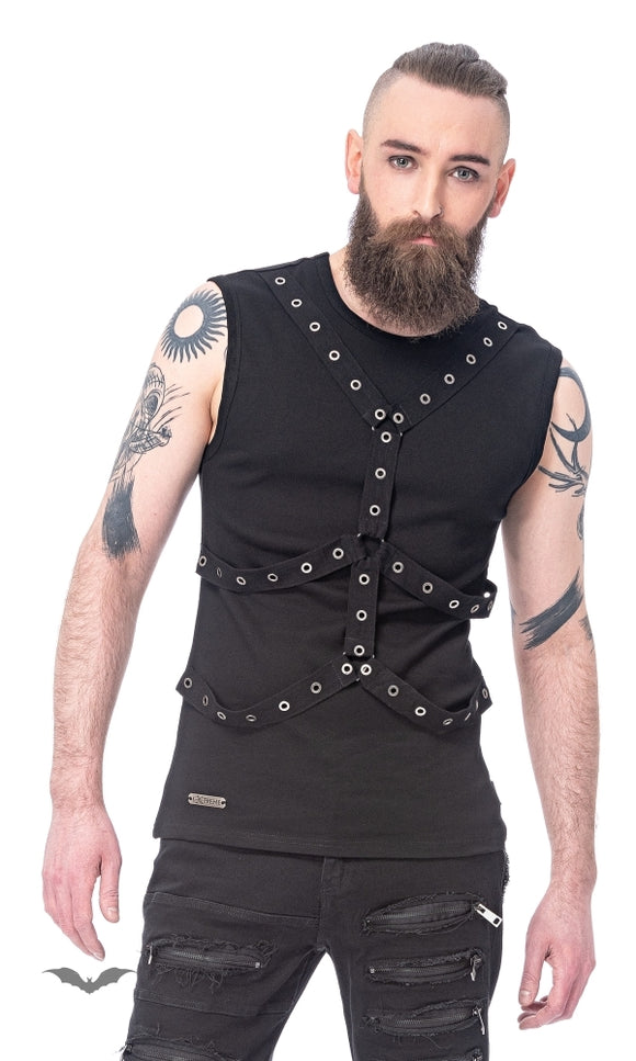 Queen of Darkness - Shirt with eyelet-bound bondages