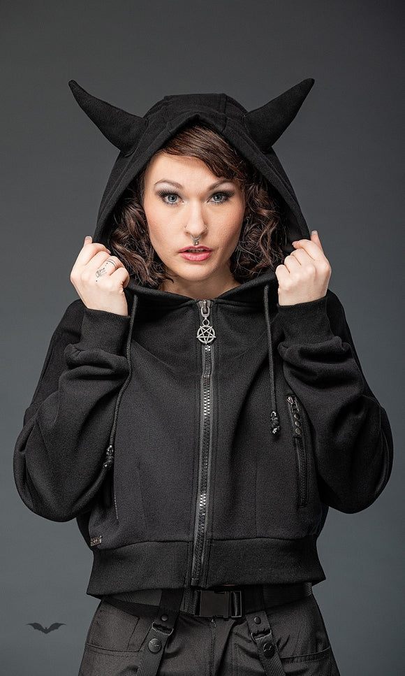 Queen of Darkness - Short jacket, hood with horns