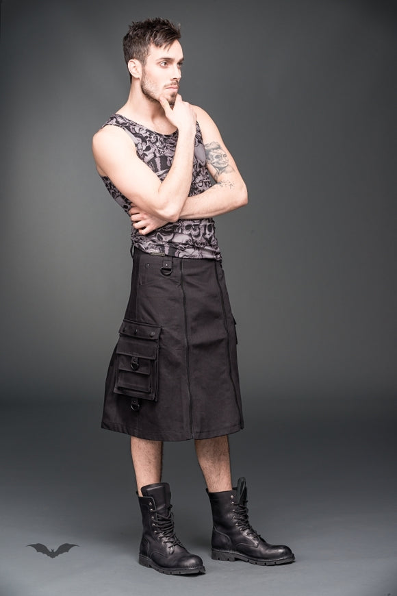 Queen of Darkness - Short men skirt with zippers in the fron