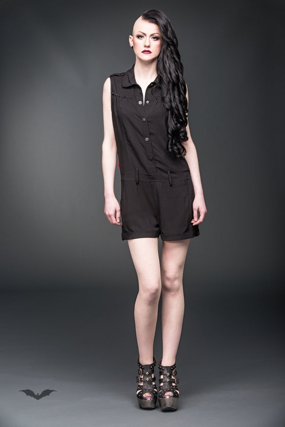 Queen of Darkness - Short sleeves jumpsuit with black studs