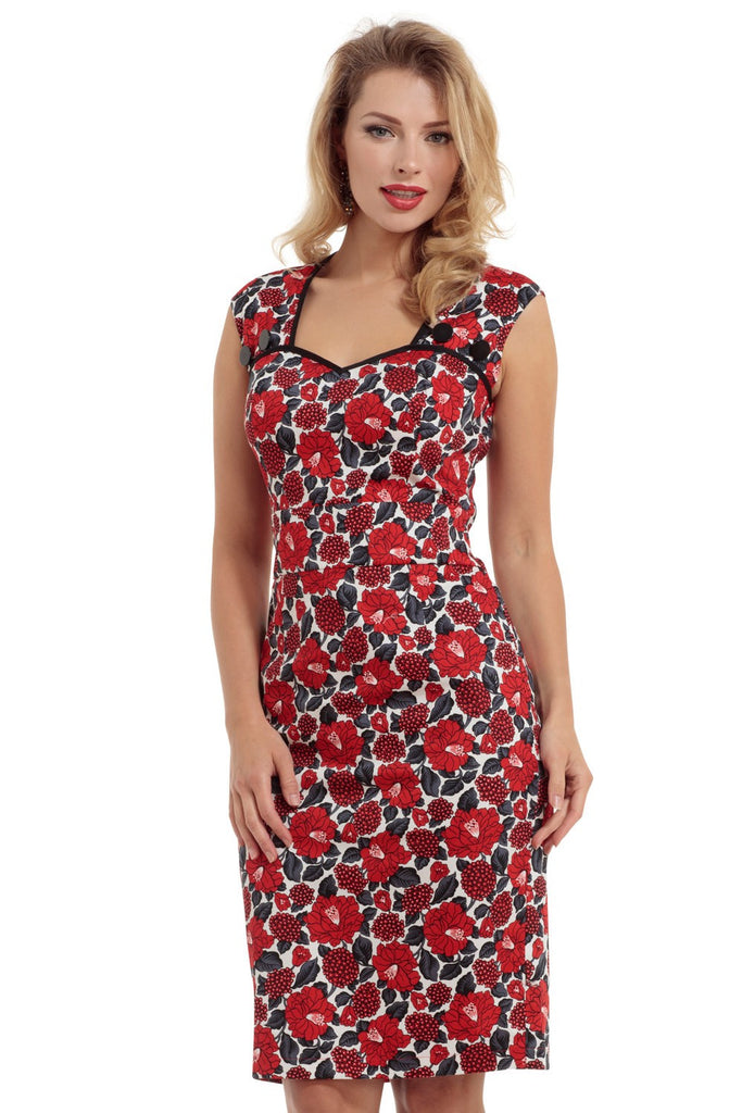 Voodoo Vixen - Sienna Red Floral Print Sleeveless Dress - Egg n Chips London