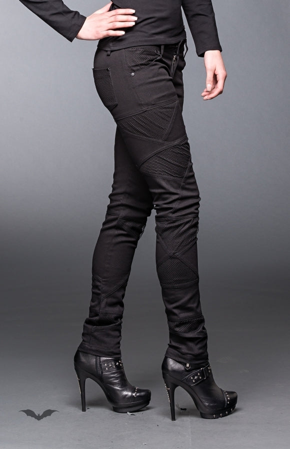 Queen of Darkness - Skinny Fit Trousers with Fishnet Details