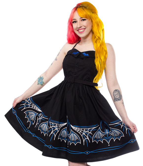 Sourpuss - Gothic Batty Pinstripe Spooksville Dress Blue