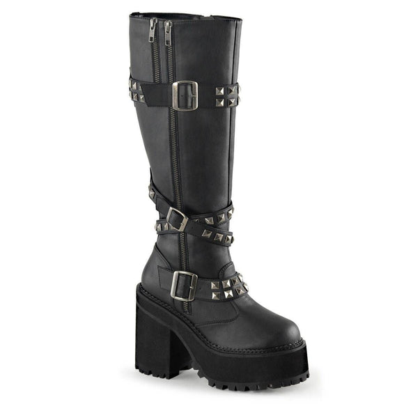 Demonia - Studded Straps Knee Heel Boot