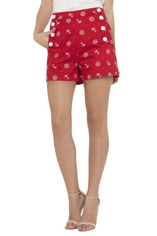 Voodoo Vixen Clothing - Sue Red Buttoned Shorts - Egg n Chips London