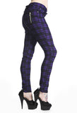 Banned Clothing - Purple Check Skinny Jeans - Egg n Chips London