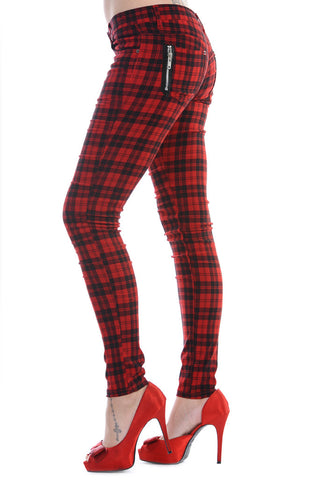 Banned Clothing - Red Check Skinny Jeans