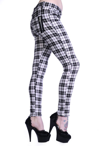 Banned Clothing - White Check Skinny Jeans