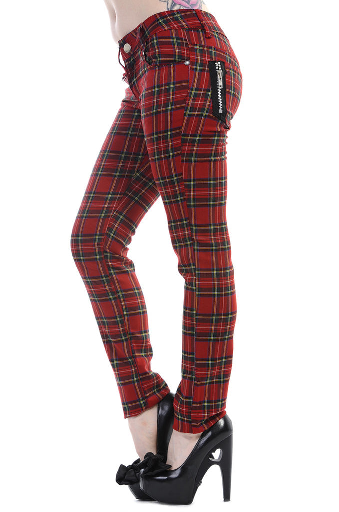 Banned Clothing - Red Tartan Skinny Jeans - Egg n Chips London