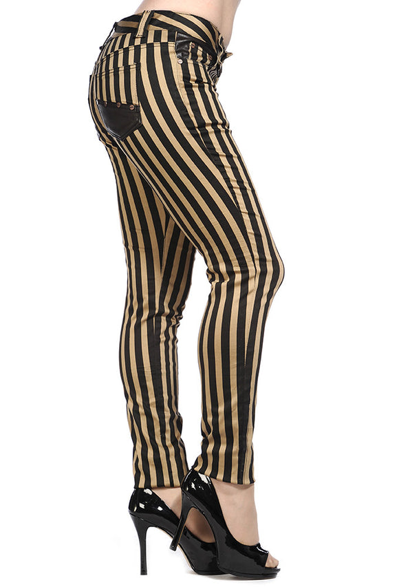 Banned Clothing - Steampunk Striped Skinny Jeans - Egg n Chips London
