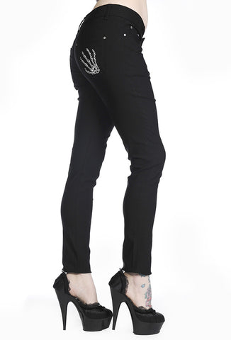 Banned Clothing - Skeleton Hands Black Skinny Jeans