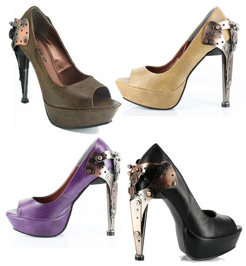 Hades Shoes - Titan Stiletto Steampunk Platforms