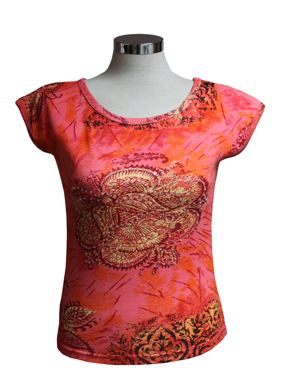 Dead Threads - Women's Pink Cap Sleeve T-shirt with Large Circular Floral Print