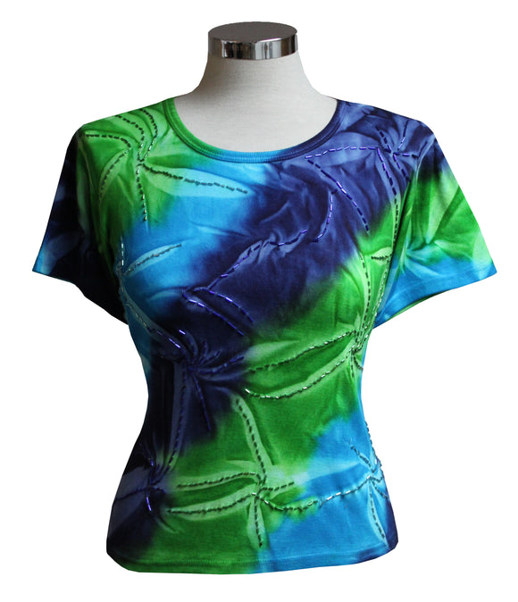 Dead Threads - Women's Blue Tie Dyed T-shirt with Glass Beads