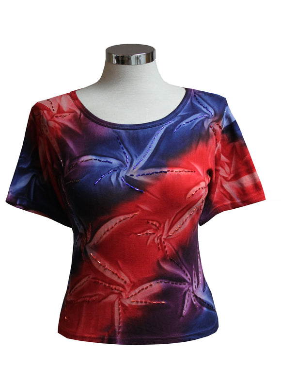 Dead Threads - Women's Red Tie Dyed T-shirt with Glass Beads