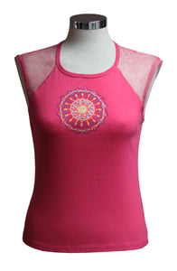 Dead Threads - Women's Fuchsia Sleeveless T-shirt with Net Mesh