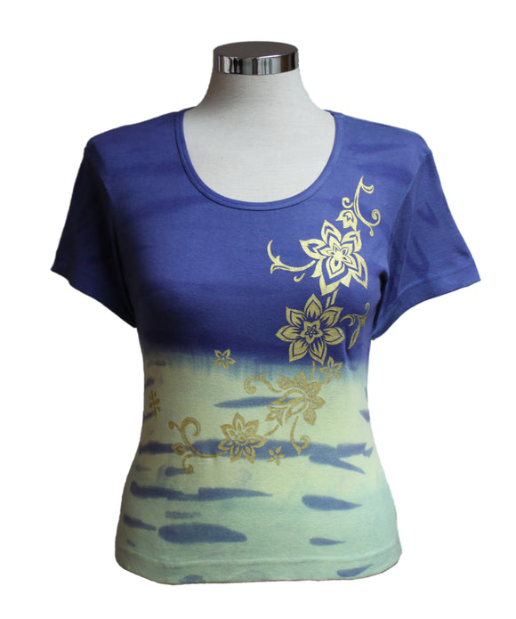 Dead Threads - Women's Blue Tie Dyed Half Sleeve T-shirt