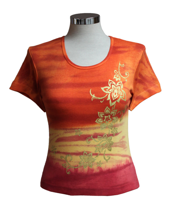 Dead Threads - Women's Orange Tie Dyed Half Sleeve T-shirt