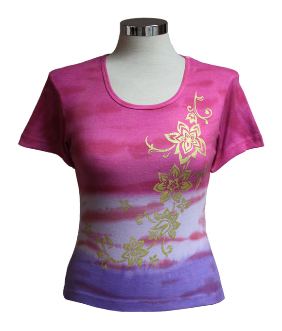 Dead Threads - Women's Pink Tie Dyed Half Sleeve T-shirt
