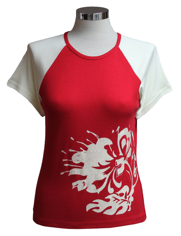 Dead Threads - Women's Red Half Sleeve Varsity Style T-shirt