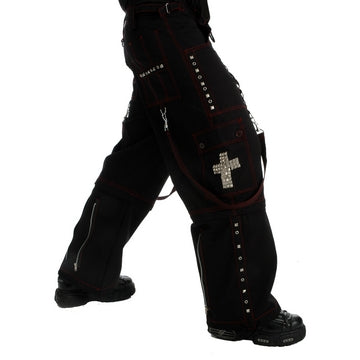 Dead Threads - Men's Wide Leg Black Baggy Style Trouser with Red Stitching