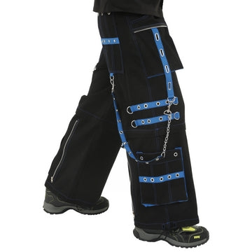 Dead Threads - Men's Wide Leg Black Baggy Style Trouser With Blue Stitching & Trim