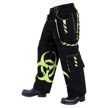 Dead Threads - Men's Neon Yellow Baggy Style Trousers with Biohazard Symbol Print