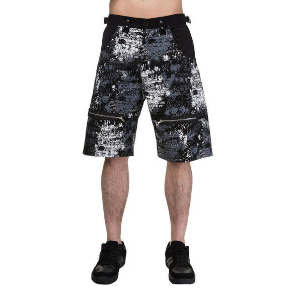 Dead Threads - Men's Grey, Black and White Design Punk Inspired Long Shorts